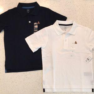 NWT GAP Navy & White Boys Short Sleeve Polos 5T